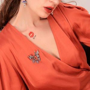 Jigdaliag Jewelry - Pink Crystal Enamel Flower Vintage Silver Brooch